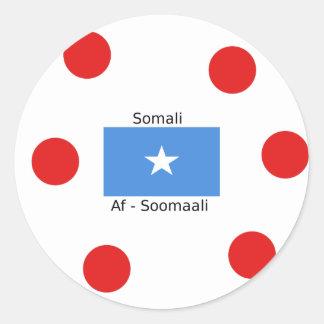 Somalische Sprache und Somalia-Flaggen-Entwurf Runder Aufkleber