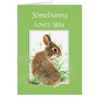 Somebunny Lieben Sie, Kaninchen, Häschen Karte