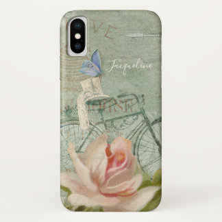 Sommer an der Hütte, Vintage Fahrrad-Holz-Rose iPhone X Hülle