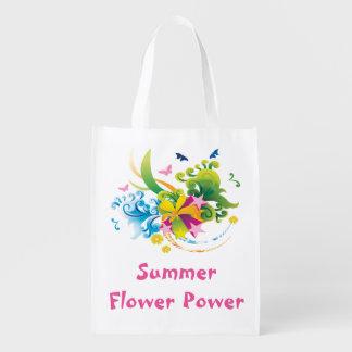 Sommer-Blumen-Power-wiederverwendbare Wiederverwendbare Einkaufstasche