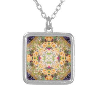 Sommer-Brautblumenstrauß-Mandala-Halskette Versilberte Kette