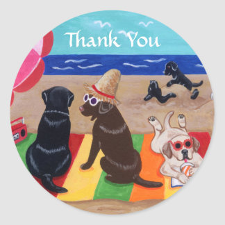 Sommer-Brise Labradors Malerei danken Ihnen Runder Aufkleber