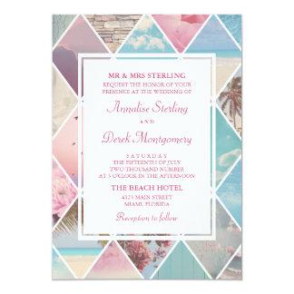 Sommer-Diamanten | rosa u. blaue Strand-Hochzeit Karte