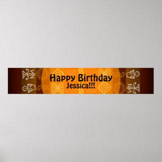 Sommer-ethnische personalisierte Geburtstags-Fahne Poster