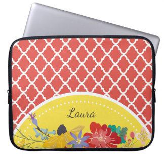 Sommer-Fiesta rotes BlumenQuatrefoil mit Namen Laptopschutzhülle