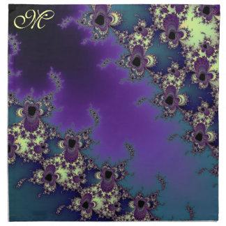 Sommer-Fraktal-Blues-mit Monogramm Serviette