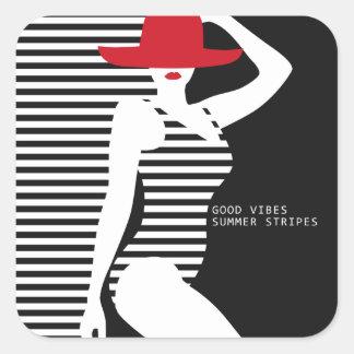 Sommer-Frauenaufkleber Quadratischer Aufkleber