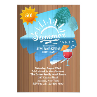 Sommer-Freizeit-Party Einladung 12,7 X 17,8 Cm Einladungskarte