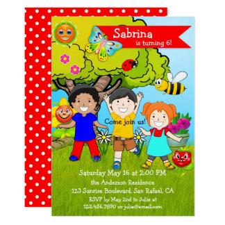 Sommer-Garten-Kindergeburtstags-Party Einladung