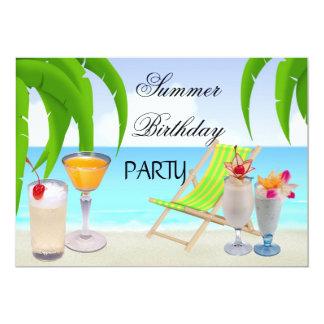 Sommer-Geburtstags-Party-Cocktail-tropischer 12,7 X 17,8 Cm Einladungskarte