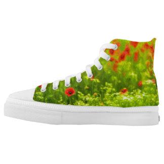Sommer-Gefühle - wunderbare Mohnblumen-Blumen I Hoch-geschnittene Sneaker