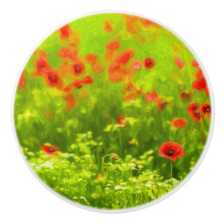 Sommer-Gefühle - wunderbare Mohnblumen-Blumen I Keramikknauf