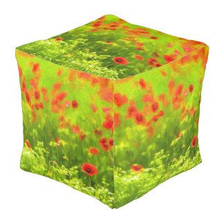 Sommer-Gefühle - wunderbare Mohnblumen-Blumen I Kubus Sitzpuff