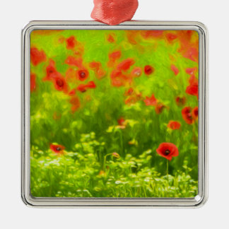 Sommer-Gefühle - wunderbare Mohnblumen-Blumen I Quadratisches Silberfarbenes Ornament