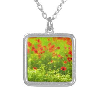 Sommer-Gefühle - wunderbare Mohnblumen-Blumen I Versilberte Kette