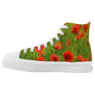 Sommer-Gefühle - wunderbare Mohnblumen-Blumen II Hoch-geschnittene Sneaker