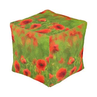 Sommer-Gefühle - wunderbare Mohnblumen-Blumen II Kubus Sitzpuff