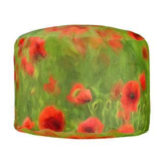 Sommer-Gefühle - wunderbare Mohnblumen-Blumen II Runder Sitzpuff