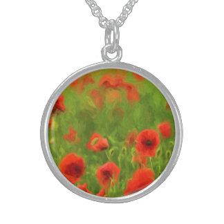 Sommer-Gefühle - wunderbare Mohnblumen-Blumen II Sterling Silberkette