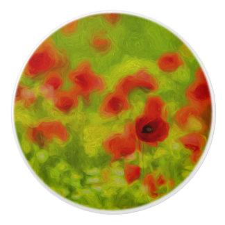 Sommer-Gefühle - wunderbare Mohnblumen-Blumen III Keramikknauf