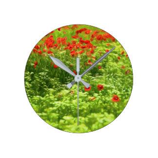 Sommer-Gefühle - wunderbare Mohnblumen-Blumen V Runde Wanduhr