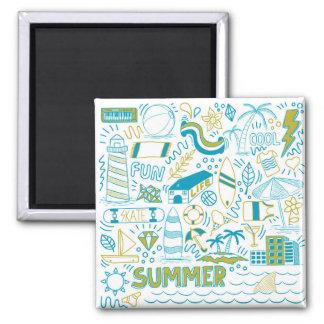 Sommer-Gekritzel-Kunst Quadratischer Magnet