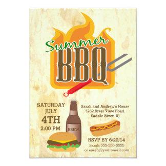 Sommer-Grill-Burger u. Brew-Party Einladung 12,7 X 17,8 Cm Einladungskarte