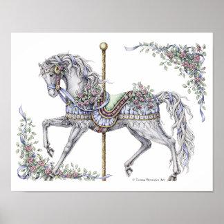 Sommer-Karussell-Pferdezeichnendes Federplakat Poster