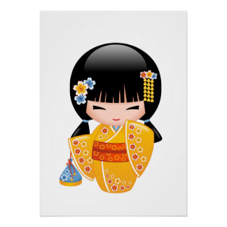 Sommer Kokeshi Puppe - gelbes Poster