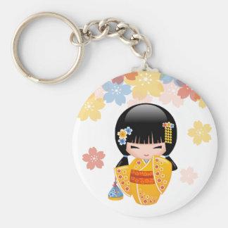 Sommer Kokeshi Puppe - gelbes Schlüsselanhänger