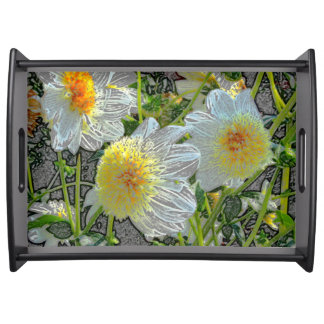Sommer-künstlerisches gelbes weißes Dahlie-Feld Tablett