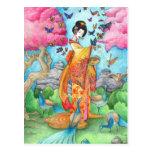 Sommer Maiko Geisha-Schmetterlings-Pfau-Kunst-Post Postkarte