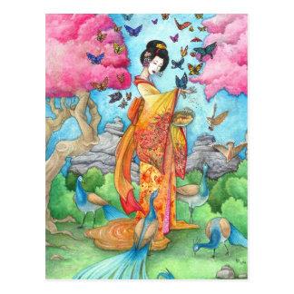 Sommer Maiko Geisha-Schmetterlings-Pfau-Kunst-Post Postkarten