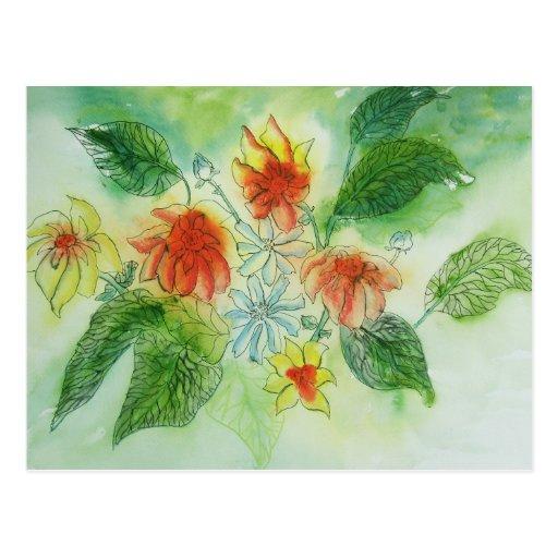 Sommer mit Blumen - Aquarell und Tinte Postkarte