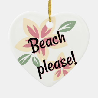 Sommer mit Blumen - Strand bitte Keramik Ornament