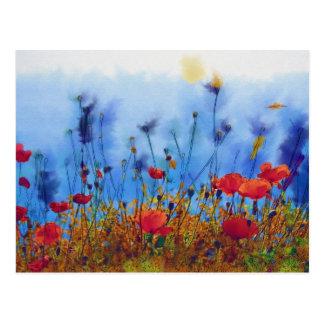 Sommer-Mohnblumen-Feld - Farbe Postkarten
