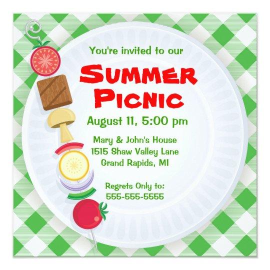sommer-picknick-einladung karte | zazzle, Einladung