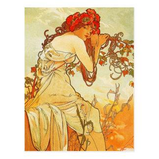 Sommer-Postkarte Alphonse Mucha Postkarte