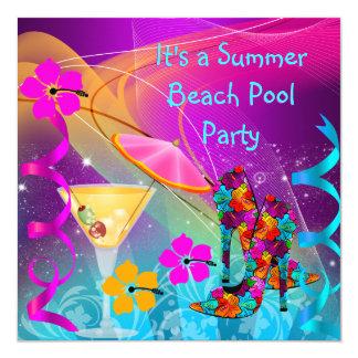 Sommer-rosa aquamarines Strand-Pool-Cocktail-Party Quadratische 13,3 Cm Einladungskarte