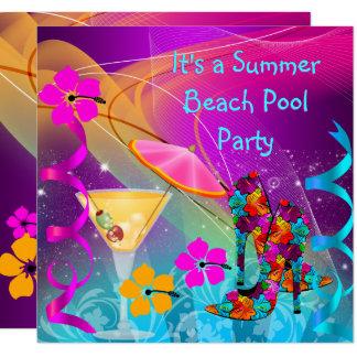 Sommer-rosa aquamarines Strand-Pool-Cocktail-Party Karte