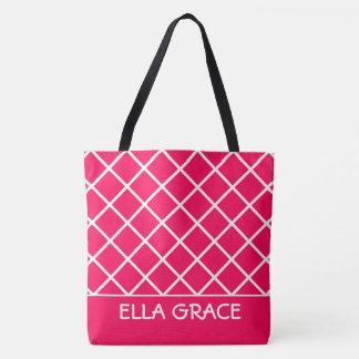 Sommer rosa und weißes Gitter personalisiert Tasche