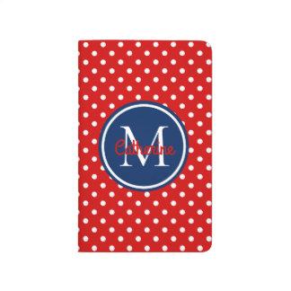 Sommer-Rot-und Marine-Blau-Tupfen-Monogramm Taschennotizbuch