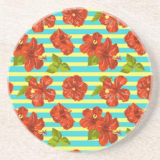 Sommer-roter Hibiskus-nahtloses Muster Sandstein Untersetzer