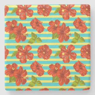 Sommer-roter Hibiskus-nahtloses Muster Steinuntersetzer