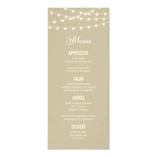 Sommer-Schnur beleuchtet Hochzeits-Menü-Karte Karte