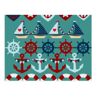Sommer-Seethema verankert Segel-Boots-Helme Postkarte