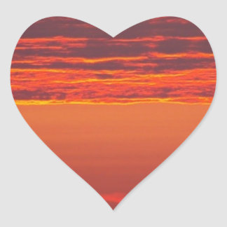 Sommer-Sonnenaufgang Herz-Aufkleber