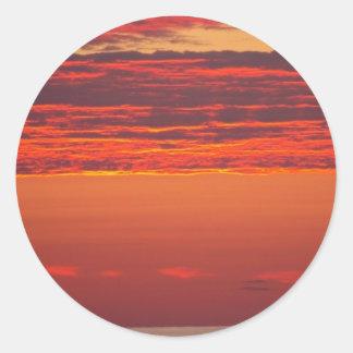Sommer-Sonnenaufgang Runder Aufkleber