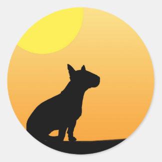 Sommer-Sonnenuntergang-Bullterrier Runder Sticker
