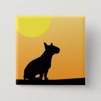 Sommer-Sonnenuntergang-Bullterrier Quadratischer Button 5,1 Cm